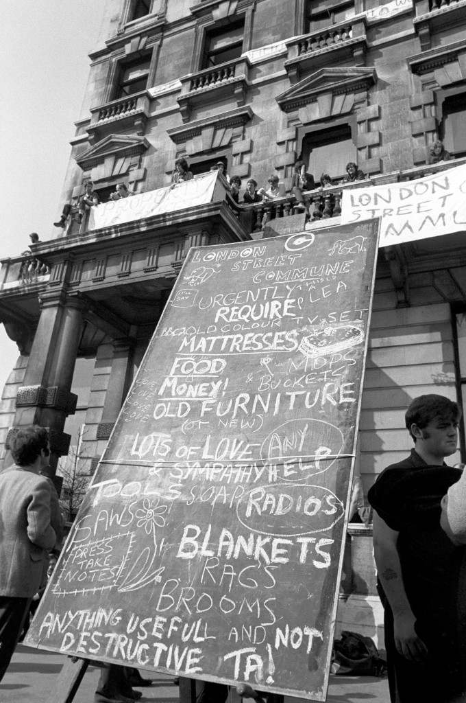 A blackboard bearing a list of items required by squatters calling themselves the London Street Commune, who are occupying an old hotel at 144 Piccadilly