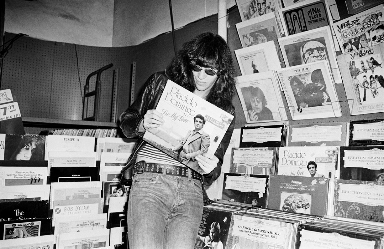 Joey Ramone goes record shopping at Free Being Records in New York. Photograph- Danny Fields