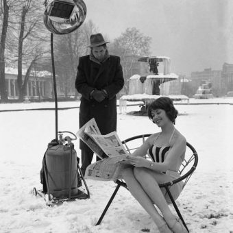 Marion Liebig Keeps Warm In The  Under The Artificial Sunshine Infra-Red Lamp – 1960