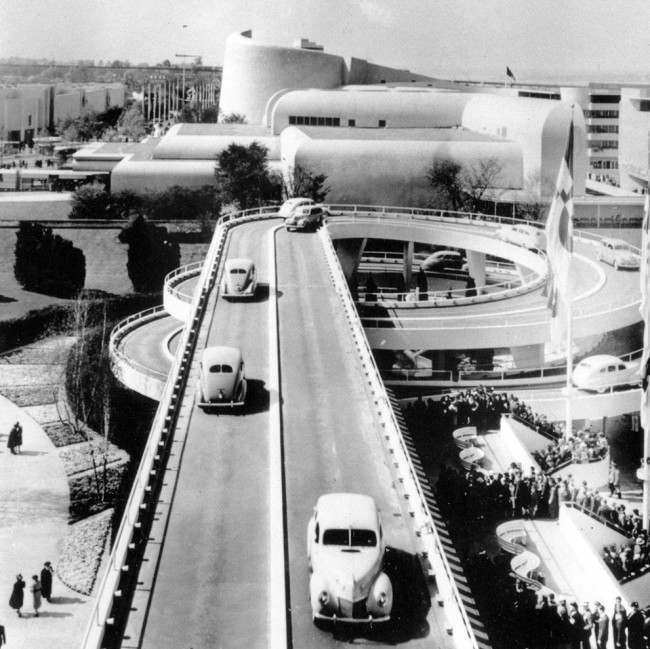 """The Road of Tomorrow,"" an elevated highway of cork and rubber composition, at the Ford Exhibit at New York's World Fair in 1939. (AP Photo)"