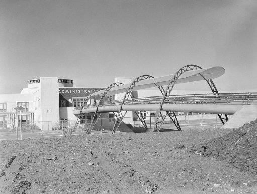 Architectural in front of a building only slightly more conventional is a bridge leading from the administration building to the exhibit area of the New York World's Fair on Feb. 21, 1938. (AP Photo)