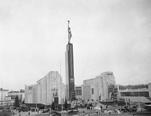 General view of the Russian pavilion at the New York World' fair, one of the last exhibits to be completed for opening of the exposition on April 30, 1939. A theater and a restaurant are incorporated in the semi-circular structure, and the exhibits and activities, and the exhibits and activities are designed to show the Russia's peoples.
