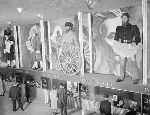 Heroic figures and murals at the Pennsylvania Exhibit at the New York World's Fair on May 11, 1939 depict the progress of that state from colonial times to the present. (AP Photo)