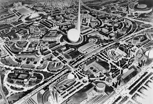 A New York World's Fair artist has produced a preview-Air view of the Fair grounds as they will appear on April 30, 1939, the date of scheduled opening. Many of the roads and 46 of the buildings are under construction or now completed. The $150,000,000 exposition covers a 1,216-acre site-about one-third of the area shown April 22, 1938. The theme the 18-story perisphere and 700-foot Trylon, in the center is well under construction. (AP Photo)