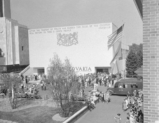"This is the Czecho-Slovak pavilion at the New York World's Fair as it was dedicated on May 31, 1939. The ancient prophecy at the top of the building is from the worlds of the medieval scholar Comenius. Similarly emblazoned in gold on the lower portion of the facade is the inscription ""Begun by the republic of Czecho-Slovakia and finished by friends of Czecho-Slovakia in America."" (AP Photo)"