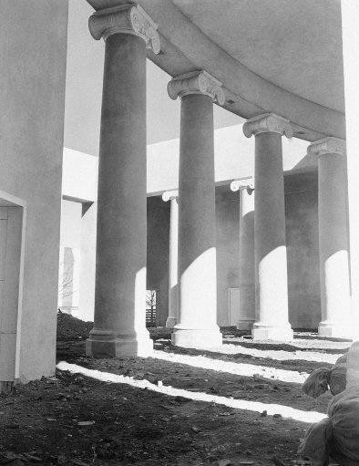 These Grecian Ionic columns of the business administration building lend a note of ancient beauty and simplicity to the fair which is marked, for the most part, by the outlandish modern design of its architecture shown Feb. 21, 1938. (AP Photo)