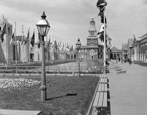 This view down the court of states at the New York World's fair on May 4, 1939 shows the Pennsylvania Building, which is a replica of Philadelphia's famed independence hall. (AP Photo)