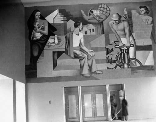 Mural in entrance shows problem of WPA with empty handed workman at left and then work created at World's Fair in New York on May 3, 1939. (AP Photo)