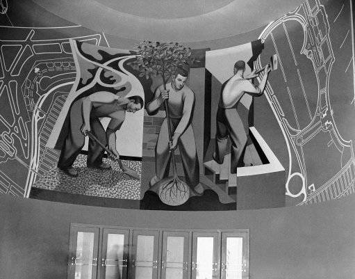 Mural in entrance of WPA men planting trees, building parks etc., blue print at left is of North Beach airport, at World's Fair in New York on May 3, 1939. (AP Photo)
