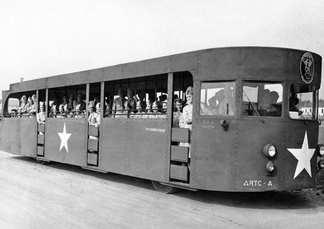 "Formerly a New York World's fair excursion bus, the ""Spectroheliogram,"" was converted after the fair closed, to be used to shuttle WAACs to and from work at the armored force replacement training center, July 26, 1949 in Fort Knox, Kentucky. (AP Photo)"