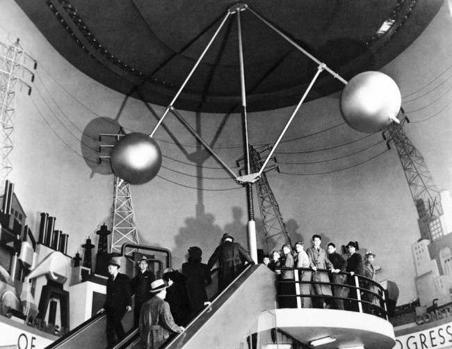 "Visitors ascend the ""electric stairway"" in the Hall of Power at the Westinghouse Building at the World's Fair, on May 8, 1939. (AP Photo/Westinghouse)"