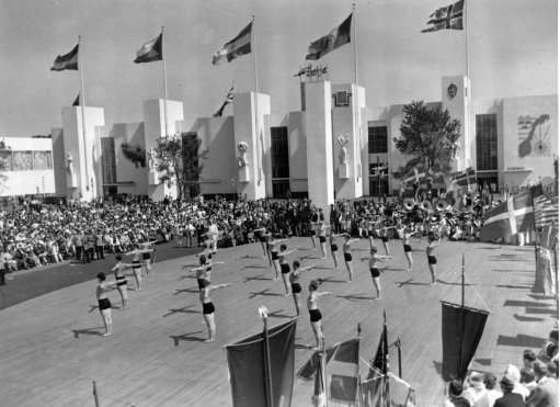 Niels Bukh's team of famous gymnasts, from Copenhagen, appear at the Denmark Day ceremonies at the New York World's Fair, performing their precision exercise on the Court of Peace on July 10, 1939. (AP Photo)