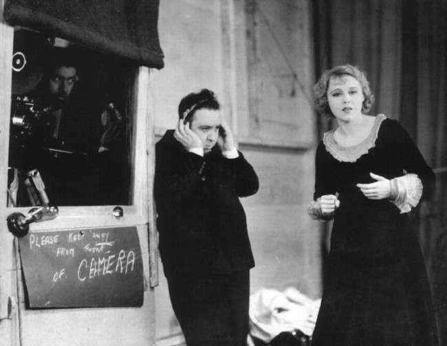 Alfred Hitchcock and Anny Ondra in 1929 during the production of Blackmail.