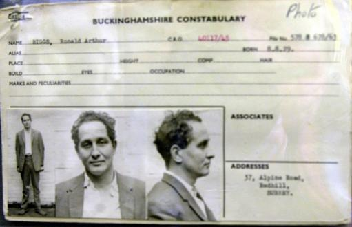 The police record sheet of Great Train Robber Ronnie Biggs. Thames Valley Police have opened a new exhibition at their museum near Reading, to mark the 40th anniversary of the audacious 2.5 million robbery which happened on the night of August 8, 1963. .