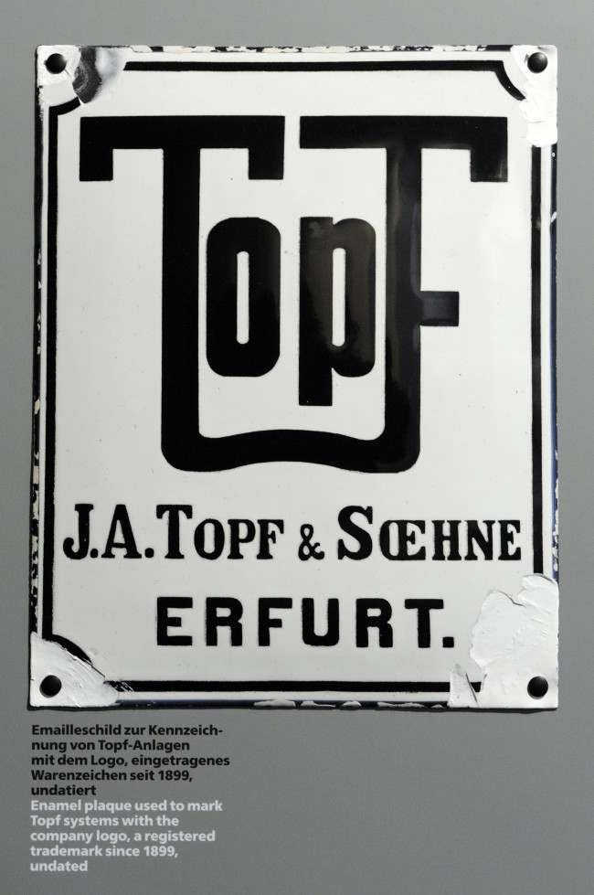 A Topf and Sons company sign hangs in the exhibition 'The Engineers of the 'Final Solution' Topf & Sons - Builders of the Auschwitz Ovens' after a press conference in Erfurt, central Germany, Tuesday, Jan. 25, 2011.