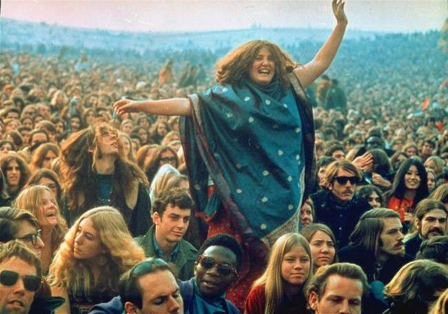 "Fans frolic at the infamous ""Gimme Shelter"" rock concert featuring the Rolling Stones at the Altamont Race Track in Livermore, California on December 8, 1969."