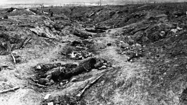 A scene in one of the German trenches in front of Guillemont, near Albert, during the Battle of the Somme. It shows the havoc wrought by the British bombardment, with German dead visible in the photograph. Guillemont was captured by the British in late September, 1916.