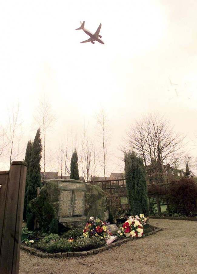 A passenger jet makes its final approach to East Midlands airport, over the memorial in Kegworth to those killed in the Kegworth aircrash 10 -years-ago today (Friday). Date: 08/01/1999
