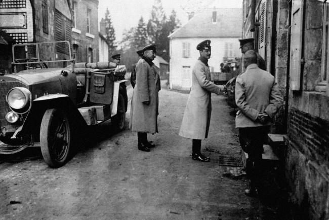 The Duke of Brunswick (formerly Prince Ernst of Cumberland), the Kaiser's son-in-law, visits a village behind the German lines in France.