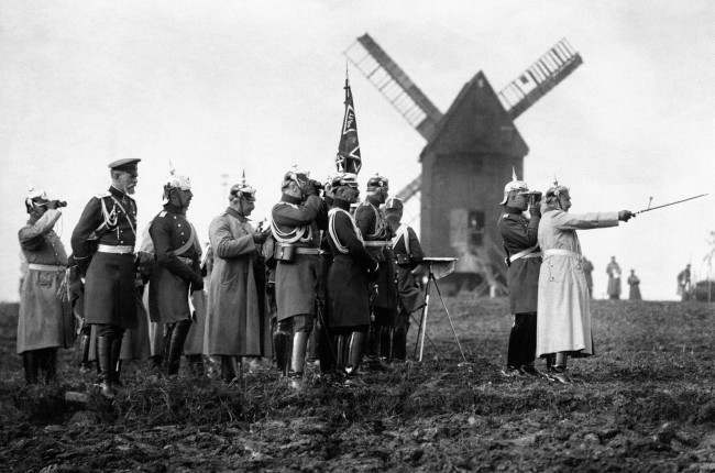 Kaiser Wilhelm II (right) and high-ranking German Army officers observe German Army maneuvers from beside a windmill before the outbreak of the First World War.