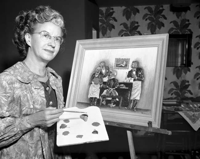 "Faye Garriott, of Gardena, Calif., who sculpts pictures with chewing gum which she then colors, is with one of her most difficult works, a picture she calls ""Sweet Adeline"", May 25, 1953. Around 150 sticks of gum were used for it. (AP Photo/Don Brinn"