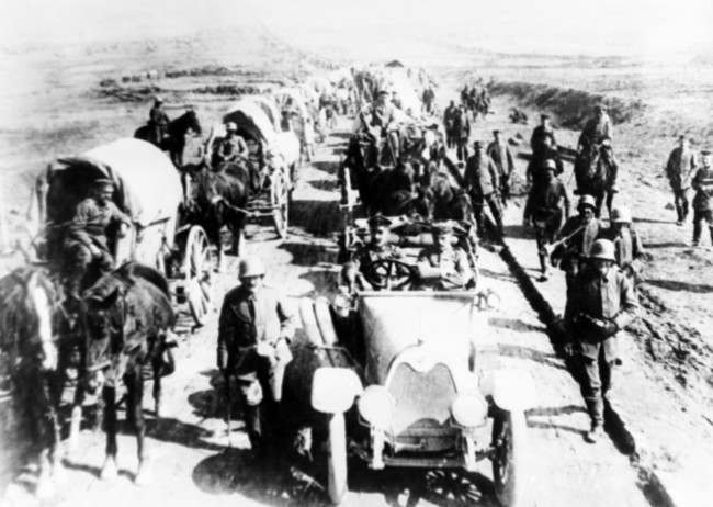 German troops advancing in Ham, France in an undated photo.