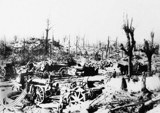 A German position at the western front, with heavy artillery in an undated photo.