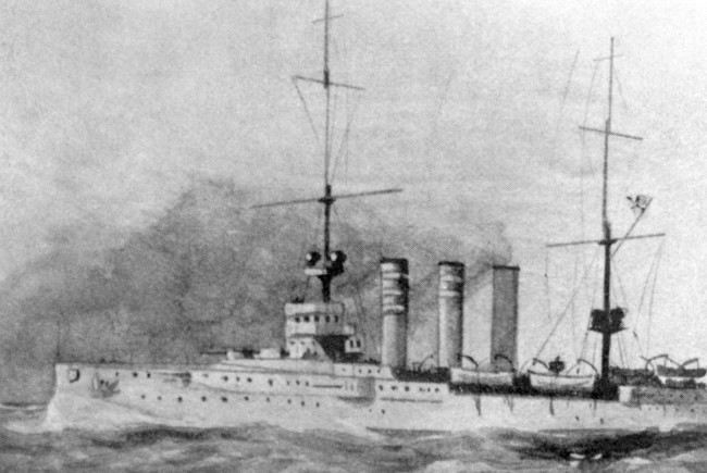 An illustration of the SMS Dresden, which was a German Imperial Navy light cruiser of the Dresden class.