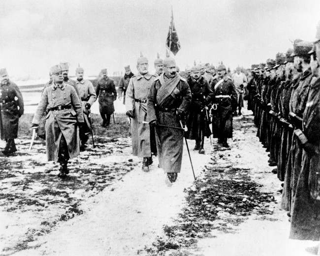 Kaiser Wilhelm II reviewing Austro-Hungarian troops. 1916