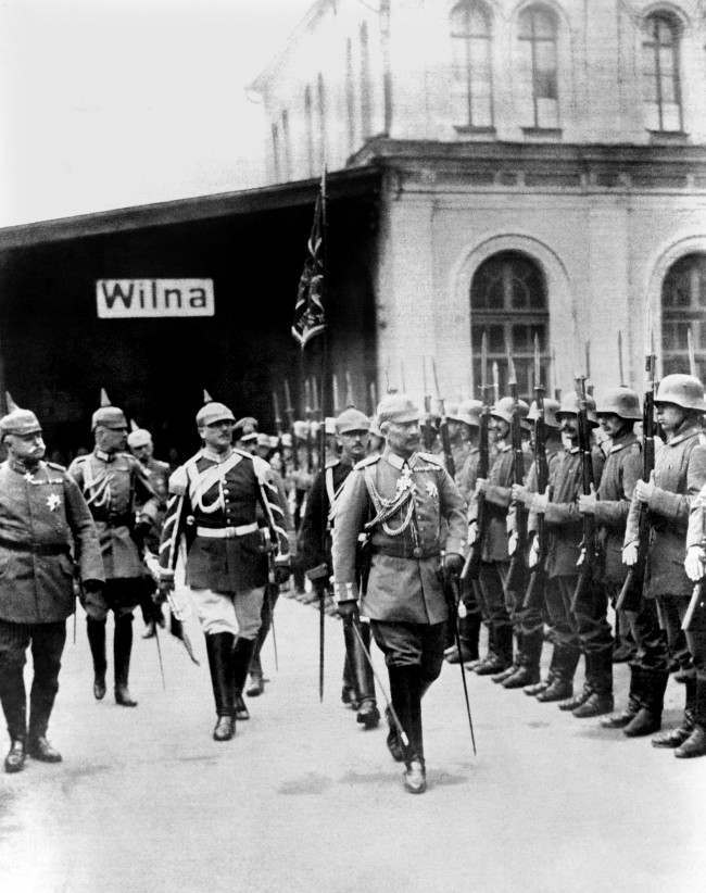 Kaiser Wilhelm II at Wilna in Poland in 1917