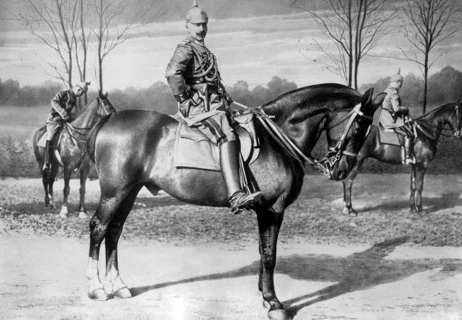 Kaiser Wilhelm II on horseback in 1915.