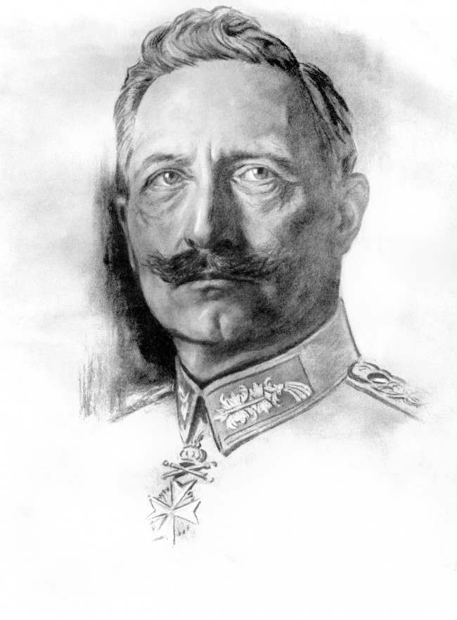 A drawing of Kaiser Wilhelm II by war artist Willy Scheuermann.