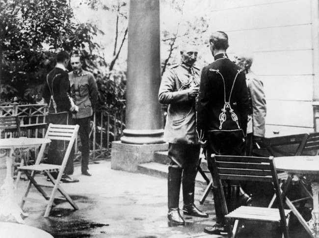 At the Austrian Headquarters, Kaiser Wilhelm II talks to the Archduke Frederick of Austria, who is celebrating his 59th birthday.