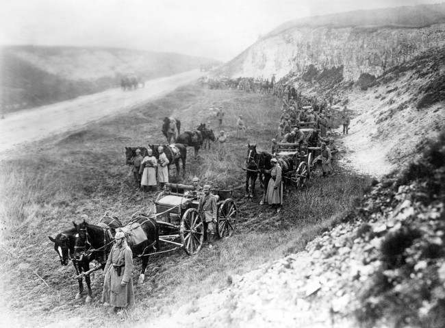 A German ammunition column is transported to the firing line.