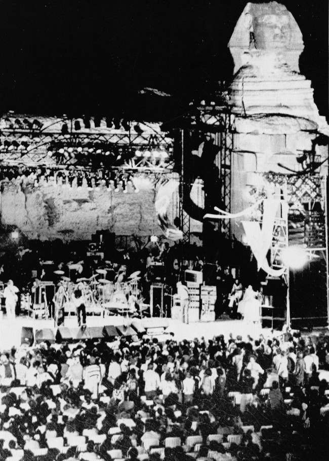 "The American rock band ""The Grateful Dead"" winds up three nights of concerts on a stage in front of the fabled ""Sphinx"" in Cairo, Egypt, Sept. 17, 1978."
