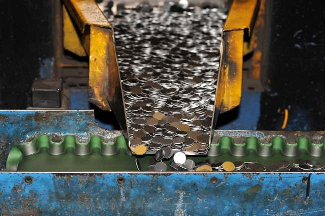 Nickel-plated steel blanks come off the production line ready to be pressed in 10p pieces