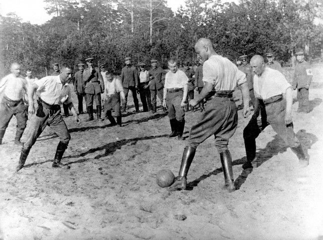 German troops playing football behind the lines