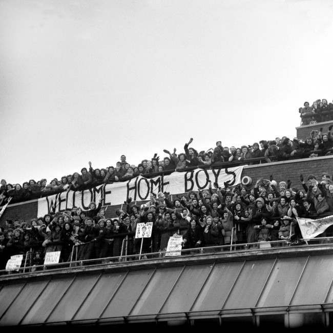 Four thousand fans of The Beatles at London Airport to greet them on their return from a tour of the United States.