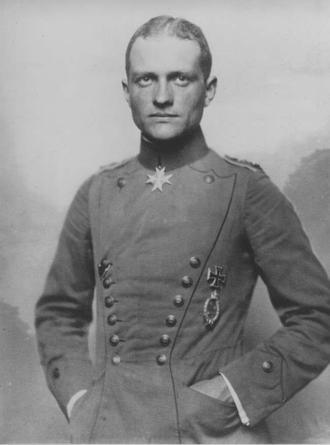 "Baron Manfred von Richthofen, leader of Germany's Flying Circus and airplane ace known as the ""Red Baron"" during World War I, is shown in this photo. The ace flyer, whose planes were painted red, was nicknamed the ""Red Baron"" by the British. (AP Photo)"
