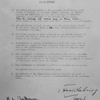 "FLASHBACK To 4 May 1945. The ""Instrument of Surrender of All German Armed Forces In Holland, In Northwest Germany And in Denmark"""