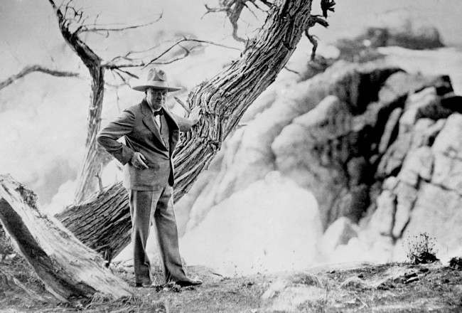 Winston Churchill wearing a Tom Mix hat (named after the popular American western star) near Del Monte, California, during his visit to the Monterey Peninsular.