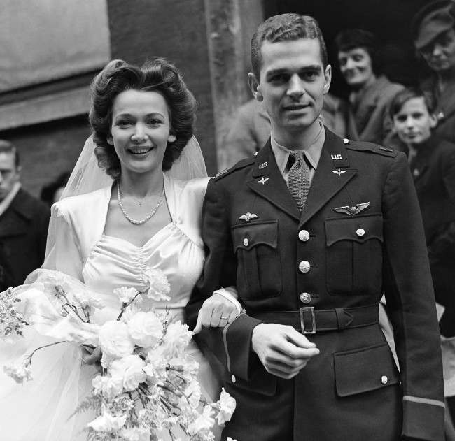 merican film star Carole Landis, 24, was married, to Captain Thomas C. Wallace, of the U.S. Army Air Force Eighth Fighter Command, at the Church of Our Lady of the Assumption in London on Jan. 5, 1943. Landis has been entertaining American troops in Britain and Captain Wallace came to England, two and a half years ago as an original member of the first Eagle Squadron. (AP Photo)