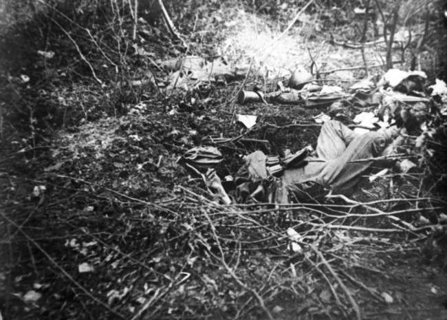 WWI, Belleau Wood showing dead German soldiers in France .