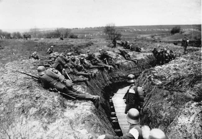 This general view shows German shock troops about to advance at the western front during World War I.