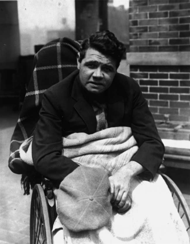 Babe Ruth getting the sunshine atop St. Vincent's Hospital in New York, May 4, 1925, which he soon hopes to be able to leave. (AP Photo)