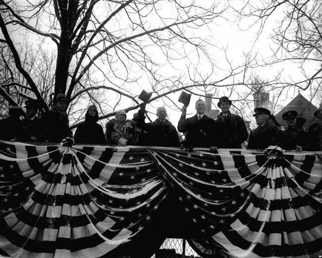Inauguration Day for the newly elected Governor of New York, Franklin D. Roosevelt. Also shown in this January 2, 1929 photo is the former governor, Alfred E. Smith, and his wife. (AP Photo)