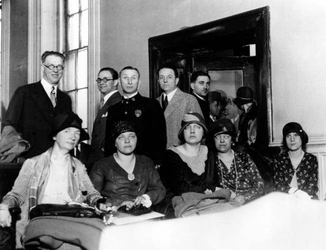 Defendents charged with maintaining a birth control clinical bureau in violation of the law are shown seated in the Chief Magistrate's Court in New York City on April 24, 1929. From left to right are, Margaret Sanger, head of the clinic; Dr. Hannah M. Stone; Sigrid Brestwell; Antoinette Field and Marcelia Sideri. More than 500 persons, including prominent physicians, are supporting Sanger, the founder of the birth-control movement, and many will give testimony on her behalf. (AP Photo)