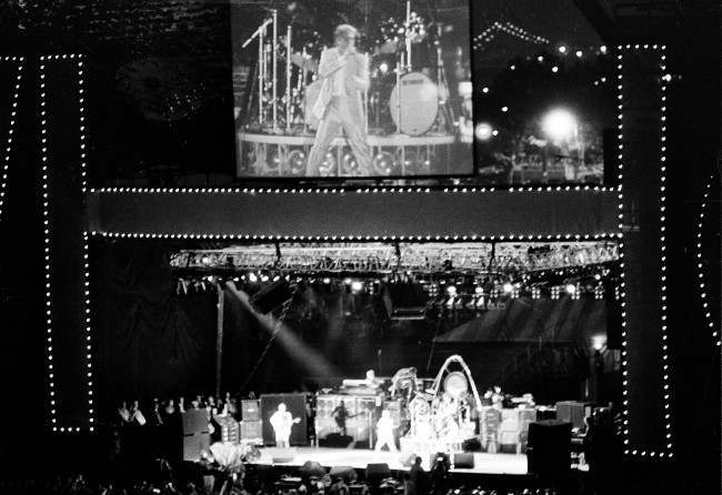 Roger Daltrey, lead singer of the British rock group The Who, appears on a giant video screen in the outfield of Shea Stadium in New York, October13, 1982, as the band tours for the last time in America.