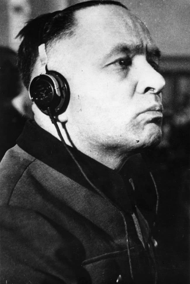 The trial of the former commandant of the Extermination Camp Auschwitz, Rudolf Hoess, who has admitted to the responsiblity of the gassing of four million prisoners. Date: 24/03/1947