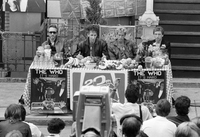 Members of the Who are shown during a news conference in New York, Oct. 29, 1989. From left: John Entwistle, Peter Townshend, Roger Daltrey, and Kenney Jones.